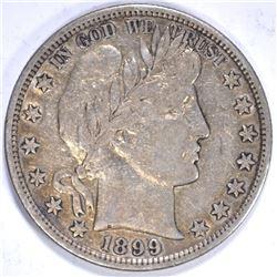 1899 BARBER HALF DOLLAR, VF