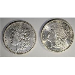 2 MORGAN DOLLARS: 1897 CH BU & 1921 CH BU