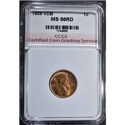 1909 VDB LINCOLN CENT CCGS SUPERB GEM RD