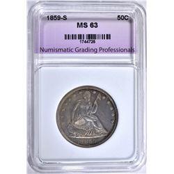 1859-S SEATED HALF DOLLAR, NGP CH BU