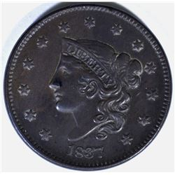 1837 LARGE CENT, XF/AU