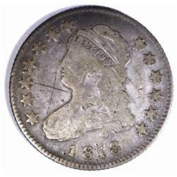 1818 CAPPED BUST QUARTER, FINE scratch obv