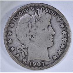1907-O BARBER HALF DOLLAR, FINE