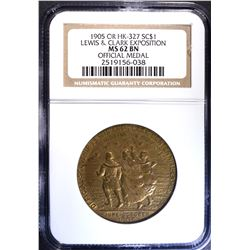 1905 OR HK-327 SO CALLED DOLLAR, NGC MS-62 BN
