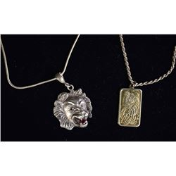 STERLING SILVER JEWELRY LOT: LION