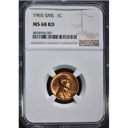 1965 SMS LINCOLN CENT NGC MS68RD