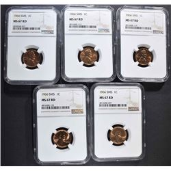 5-1966 SMS LINCOLN CENTS NGC MS67RD