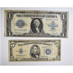 1934A $5 SILVER CERT & 1923 $1 SILVER