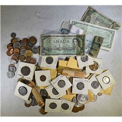LARGE BAG CANADA COINS & CURRENCY