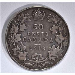 1913 CANADIAN HALF DOLLAR FINE