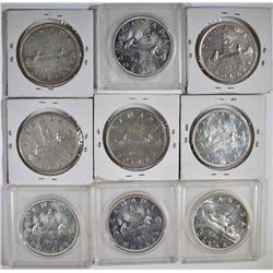 CANADA SILVER DOLLAR LOT ( 9 ) 1951 AU