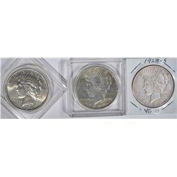 PEACE DOLLARS 1924 AU, 1925 AU, 1928-S