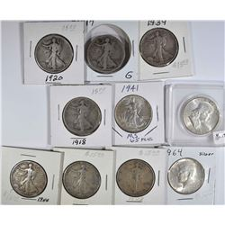 10pc SILVER HALF DOLLARS; 1963 BU FRANKLIN &