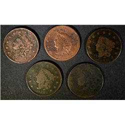 5 - LARGE CENTS G/VG; 1820, 1834, 1834,