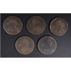5-LOWER GRADE LARGE CENTS: