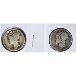 2 - 1921 MERCURY DIMES G/VG