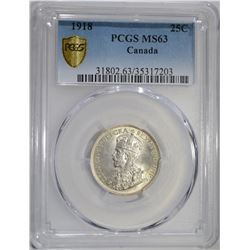 1918 SILVER 25 CENTS CANADA PCGS MS63 GOLD SHIELD