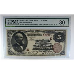 1882 BROWN BACK $5 NATIONAL CURRENCY PMG 30
