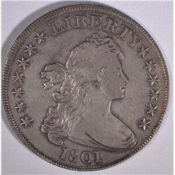 1801 DRAPED BUST SILVER DOLLAR  AU