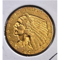 1908 $2 1/2 GOLD INDIAN HEAD  CH BU