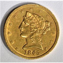1845 $5 GOLD LIBERTY  BU