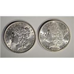 2 MORGAN DOLLARS: 1881-S & 1900 CH BU
