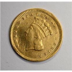 1857 C $1.00 GOLD  XF/AU