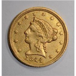 1844 C $2.50 GOLD  XF/AU