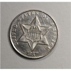 1867 THREE CENT SILVER  CH BU