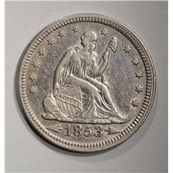 1853 ARROWS & RAYS SEATED QUARTER  AU/BU