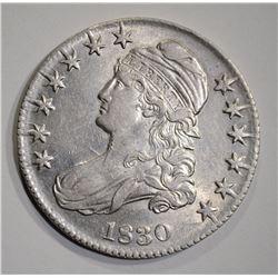 1830 CAPPED BUST HALF DOLLAR  AU/BU