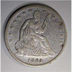 1863 SEATED HALF DOLLAR  XF/AU