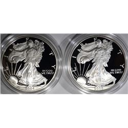 2004 & 05 PROOF AMERICAN SILVER EAGLES