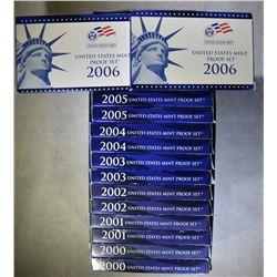 2-EACH 2000-2006 U.S. PROOF SETS IN ORIG PACKAGING