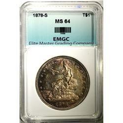 1878-S TRADE DOLLAR, EMGC CH/GEM BU