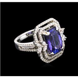 4.28 ctw Tanzanite and Diamond Ring - 18KT White Gold