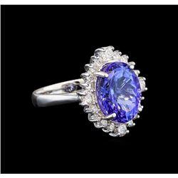 14KT White Gold 3.67 ctw Tanzanite and Diamond Ring