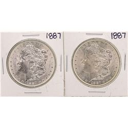 Lot of (2) 1887 $1 Morgan Silver Dollar Coins