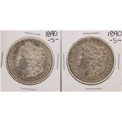 Lot of (2) 1890-S $1 Morgan Silver Dollar Coins