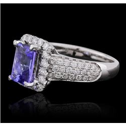 14KT White Gold 1.84 ctw Tanzanite and Diamond Ring