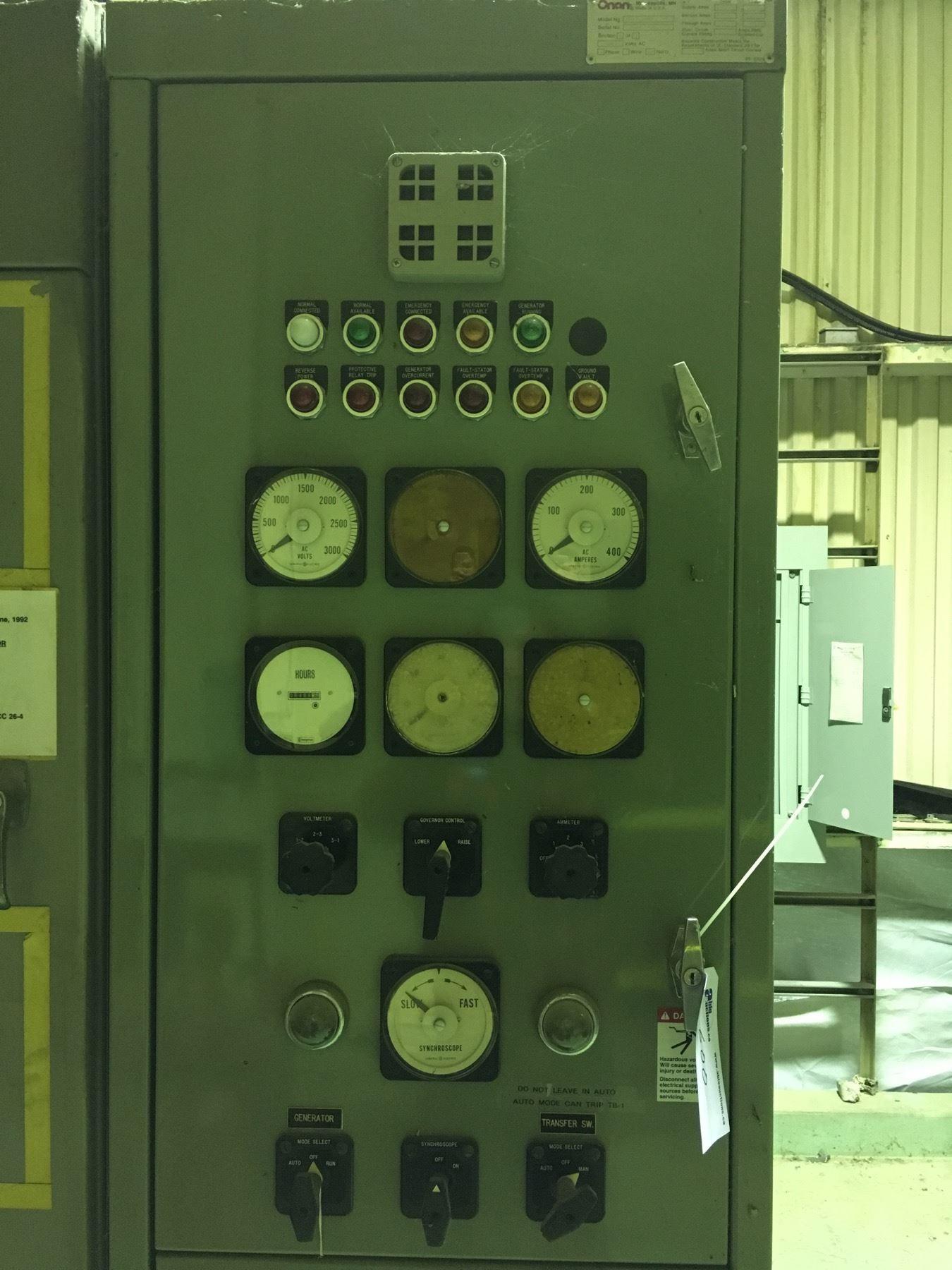 ONAN 1 MEGAWATT GENERATOR SET, MODEL 1000DFLA, SPEC  52357G, 3 PHASE