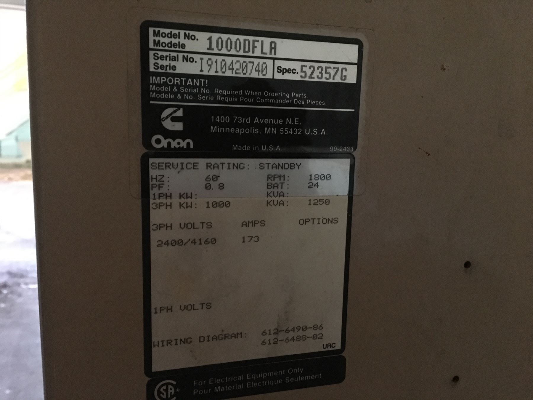 ONAN 1 MEGAWATT GENERATOR SET, MODEL 1000DFLA, SPEC  52357G, 3 PHASE