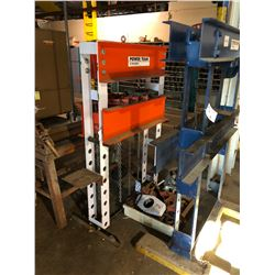 POWER TEAM 55 TON  SHOP PRESS FRAME WITH ASSORTED TOOLING, NO HYDRAULIC UNITS INCLUDED