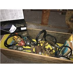 CRATE OF ASSORTED POWER TOOLS FOR REPAIRS/PARTS