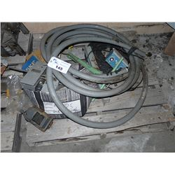 LOT OF HEAVY DUTY ELECTRICAL CORD AND ASSORTED PARTS