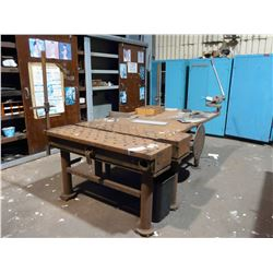 APPROX. 5' X 8' HEAVY DUTY STEEL WORK BENCH WITH BEVERLY SHEAR, AND ELECTRIC WELDING POSITIONER