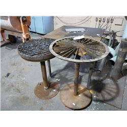 2 SMALL BURNING TABLES AND STEEL WORK BENCH