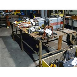 APPROX. 4' X 8' STEEL WORK BENCH WITH VICE, AND RIDGID C-359