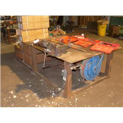 APPROX. 5' X 10' HEAVY DUTY STEEL WORK BENCH WITH VICE