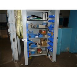 METAL STORAGE CABINET WITH ASSORTED CONTENTS INC. COUPLINGS, PARTS AND MORE